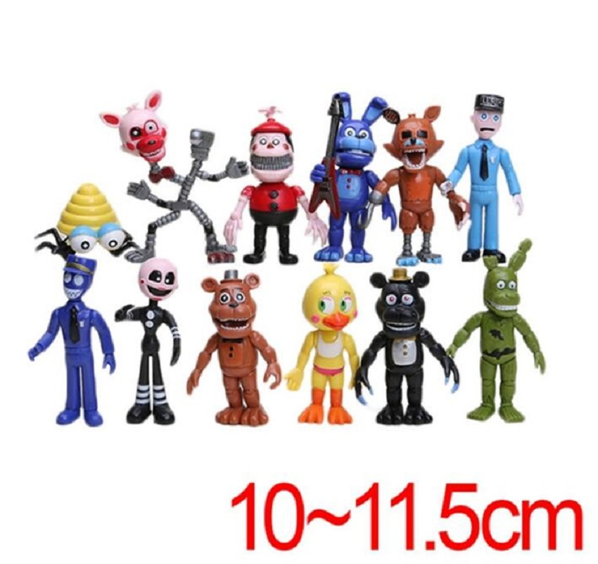 12pcs/set PVC Five Nights At Freddy's Action Figures Toys Foxy Freddy Fazbear Bear Doll gift at freddy s five nights pvc action figure 17cm bonnie foxy freddy toys 5 fazbear bear doll baby toys for children gift 2017