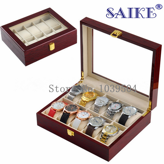 Free Shipping 10 Grids Brand Watch Display Box MDF Material Red Piano Paint Transparent Skylight Watch Storage Gift Boxes D029 free shipping 6 grids watch display box black high light brand mdf watch box fashion watch storage packing gift boxes case w026