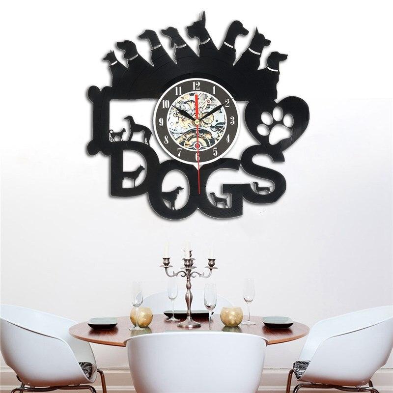 Charminer Acrylic Dogs Art Vinyl Wall Clock Gift Room Modern Home Record Vintage Decoration Vinyl Record Wall Clock Balck