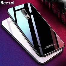 Rezzol For Meizu 16 Case Tempered Glass Back Cover For Meizu