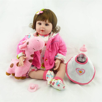 20 NPK Baby Doll With Giraffe Doll Full Body Silicone Vinyl Adorable Lifelike Toddler Baby Bonecas