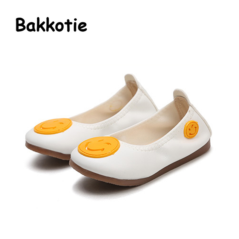 Bakkotie 2018 Spring New Fashion Children Pu Leather Soft Flat Baby Girl Casual Smile Shoe kid Black Boy Brand Cute Slip-On