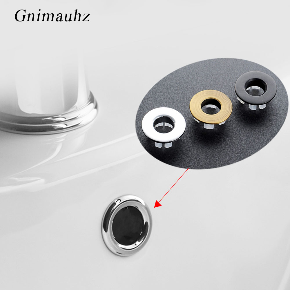 1Pcs Sink Hole Round Overflow Cover Ceramic Pots Plastic/Copper Insert Chrome Basin Sink overflow cover(China)