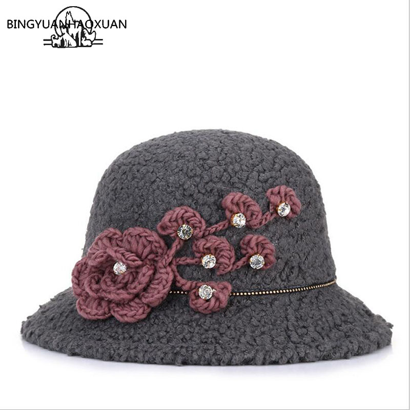 BINGYUANHAOXUAN Women's Autumn Winter Fedora Hat Casual Imitation Lamb Hair with Wide Brim & Flowers Collapsible