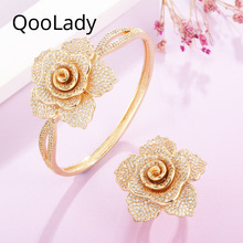 QooLady Gorgeous Micro Pave CZ Yellow Gold Big 3D Geometric Flower Bangles and Rings Bridal Jewelry Set for Wedding Party Z002