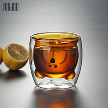 JOUDOO Double Layers Heat Resistant Glass Water Cup Cute Bear Colorful Creative Home Office Tea Drinkware 35
