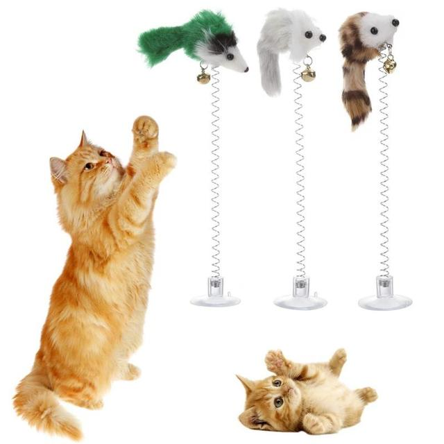 1/3Pcs Funny Cat Toys Elastic Feather False Mouse Bottom Sucker Toys for Cat Kitten Playing Pet Seat Scratch Toy Pet Cat Product