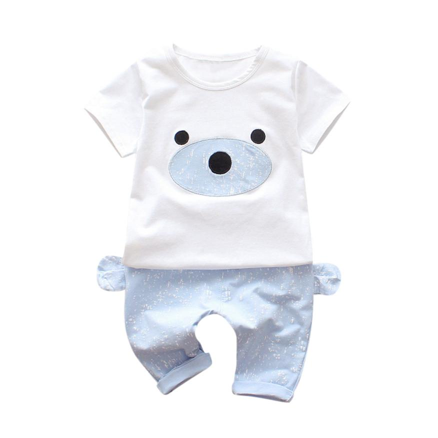 2018 2Pcs Infant Baby Boys Girls Bear Print Kids Tops+Pants Outfits Clothes Set Comfortable And Breathable 5.23 ...