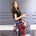 Chegada nova Senhoras Elegantes Mulheres De Vestido de impressão elegante magro chiffon curto-luva patchwork one piece-Vestido