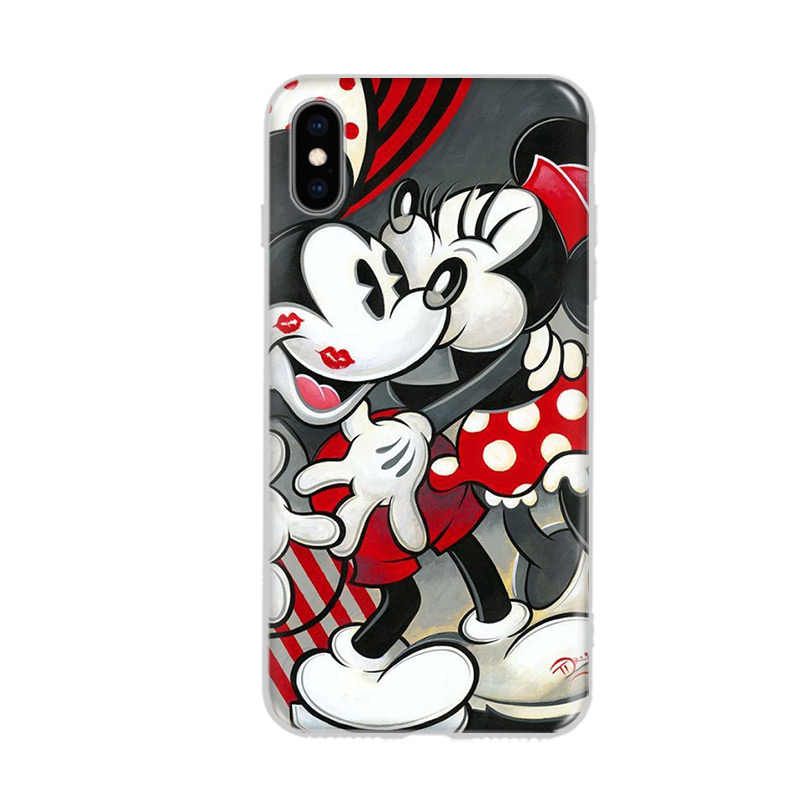 Caso Mickey Minnie Para iPhone Coque 7 8 Mais XS MAX XR Macio Bonito Mickey Minnie Capa Para O iPhone X 6 6 S Plus 5 5S SE Fundas Coque