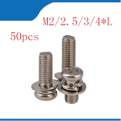 m4 Combination screw 50pc/lot metric thread M2,M2.5,M3,M4 carbon steel Phillips Pan Head Three sem screws with washer din912 304 stainless steel screw hex socket smooth cup head cylindrical head three combination m2 5 m3 m4 m5 m6 screw washer