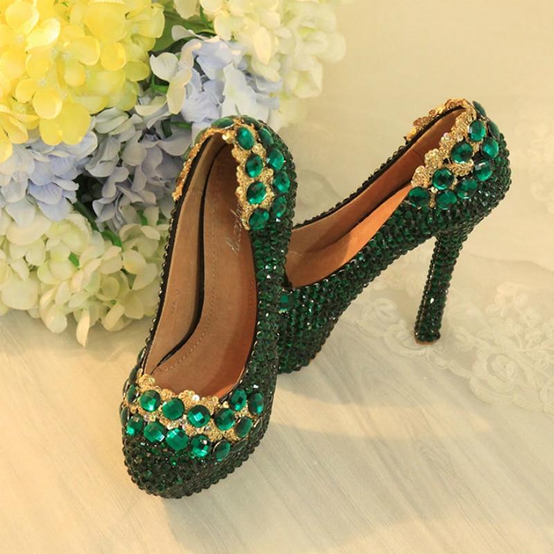 Green Women Wedding Shoes High Heels 12cm Platform Pumps Diamond Pumps Sexy Women Bridal Shoes Sequins