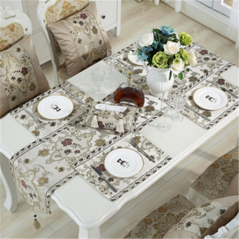 SBB European luxury classical embroidered table flag silk like Table Runner Tablecloth Embroidered Table Runners Dinner Mats in Table Runners from Home Garden