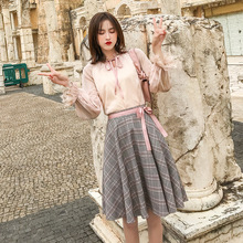 Spring new Net red wind 2019 spring womens Korean dress two-piece A-line chiffon clothes vestido de festa