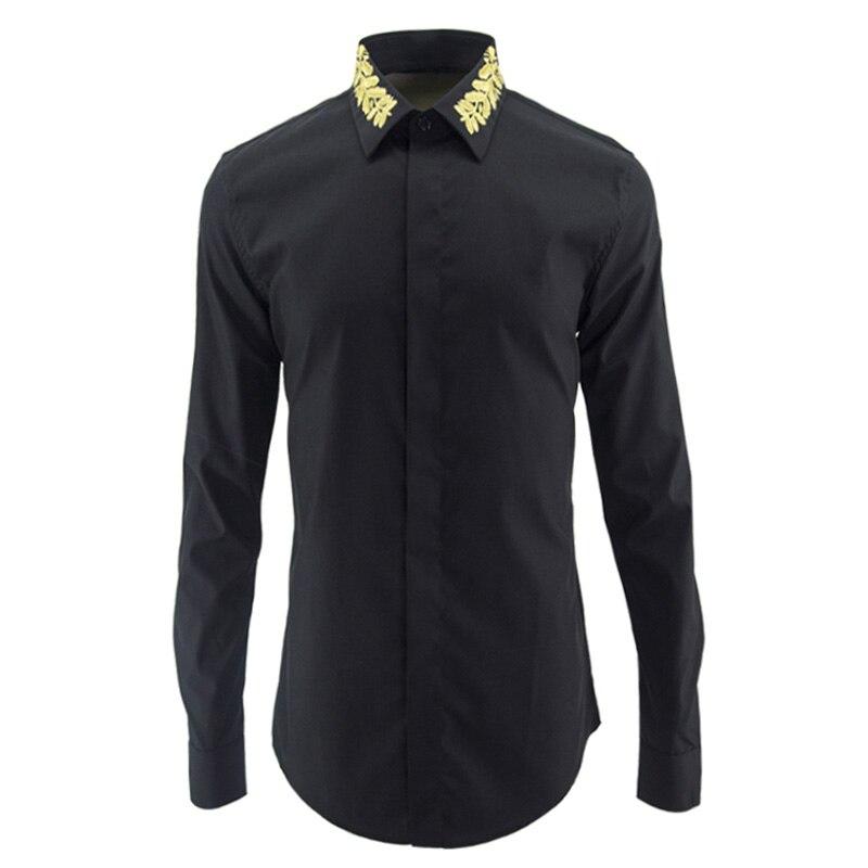 Robe Hommes Blanc Marque Vêtements Chemise Chemises Luxe Homme Casual En  Beige De Coton Manches noir ... f0945ab6da2