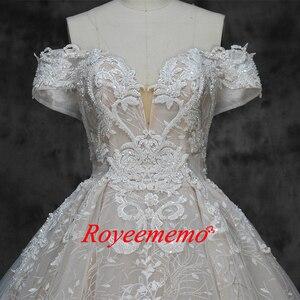 Image 5 - 새로운 럭셔리 레이스 디자인 웨딩 드레스 어깨 짧은 소매 웨딩 드레스 공장 사용자 정의 만든 도매 가격 신부 드레스