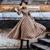 Vintage Plaid Wool Dress Women Winter 2018 Thicken Warm Elegant Stylish Ladies High Street Skinny Retro Big Swing Shirt Dresses