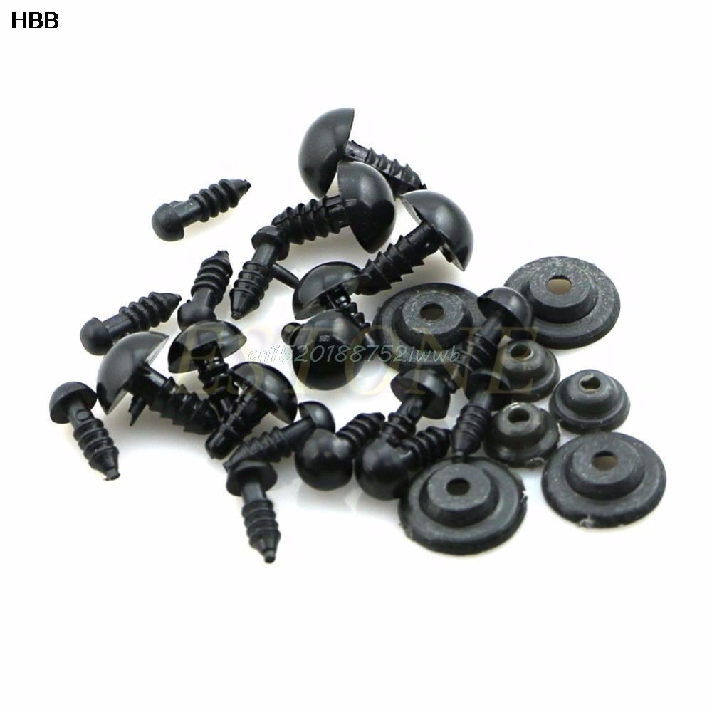100x 6-12mm ojos de seguridad de plástico negro para peluche oso - Muñecas y accesorios - foto 1