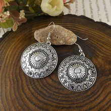 New Tibetan silver Metal Statement Big Dangle Earrings For Women Fashion Long Earring Jewelry Accessories Bohemia Retro Ethnic new ethnic bohemia dangle drop moonstone earrings for women tibetan silver earring vintage earings fashion jewelry party gifts