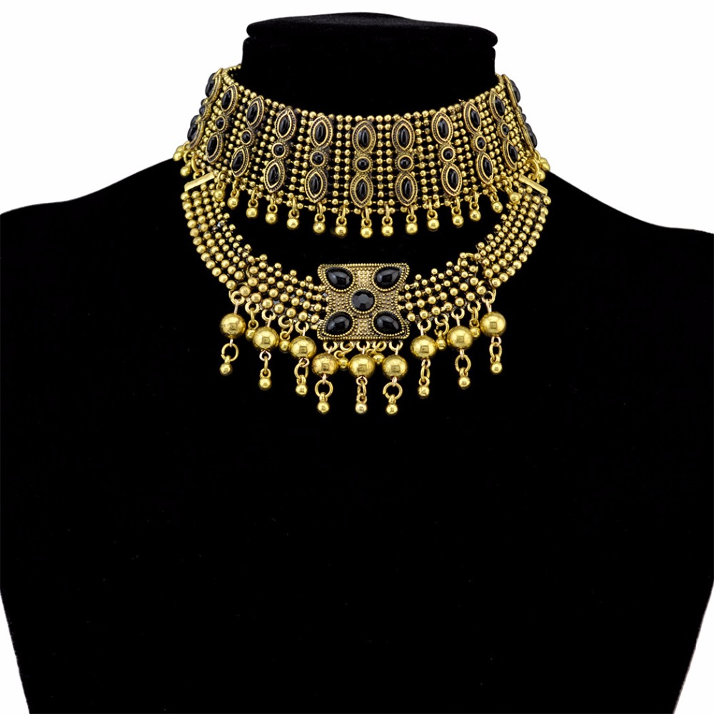 Ethnic coins necklace gypsy collar festival beach summer gold dangle necklace