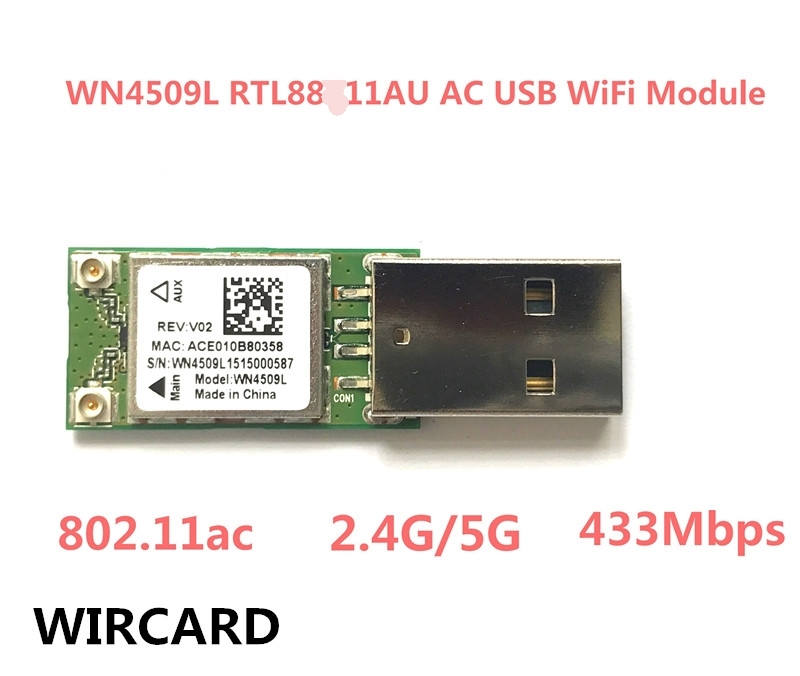 WIRCARD WN4509L  Mini 5Ghz 2.4Ghz 433Mbps Wireless Dual Band 802.11ac USB WiFi Adapter RTL8811AU For Desktop/Laptop/PC