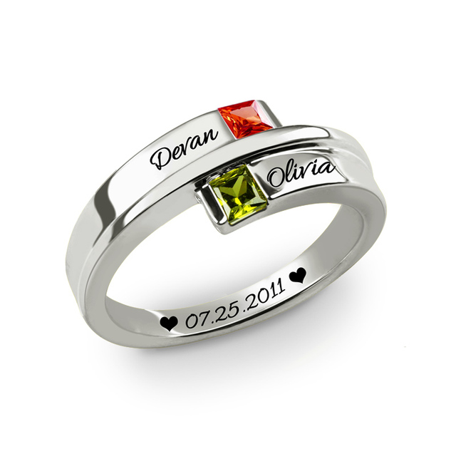 Personalized Name Square Stone Promise Rings For Couples Costume Letter Sterling Silver 925 Rings Jewellery Gifts Anillos Mujer