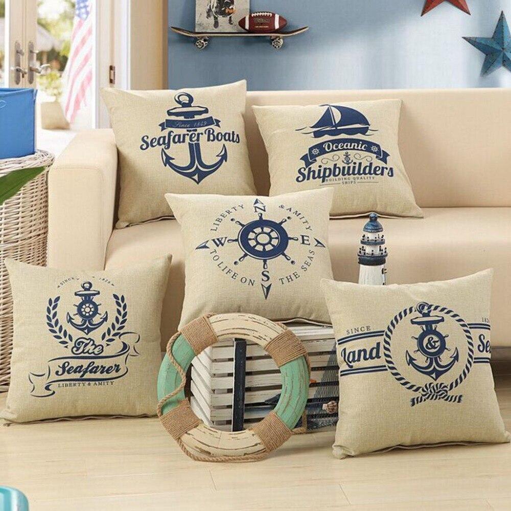 Sea Anchor Boats Digital Printed Pillowcase Household Decorative Sofa Throw Pillows Case Office Chair Seat Pillow Cushion Cover