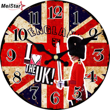 MEISTAR Large Wall Clocks Vintage Wooden Clock Flag Design Silent Perfect Quality Home Decor Retro 6 inch (15 cm)