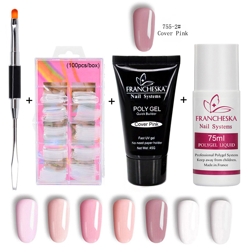 Francheska Poly Gel Kit Polygel Set Hard Jelly Crystal Gel Finger Extension Nail Tips Camouflage pink cover clear Slip Solution