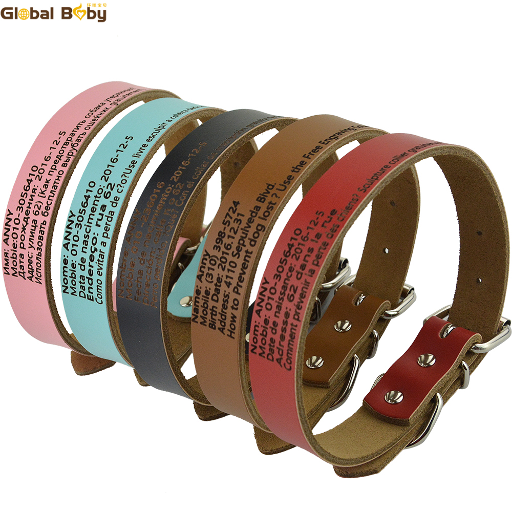 Global Baby Cow Leather Preventing Lost Personalized Dog Collars Customized Dog Pet Engraved Collar