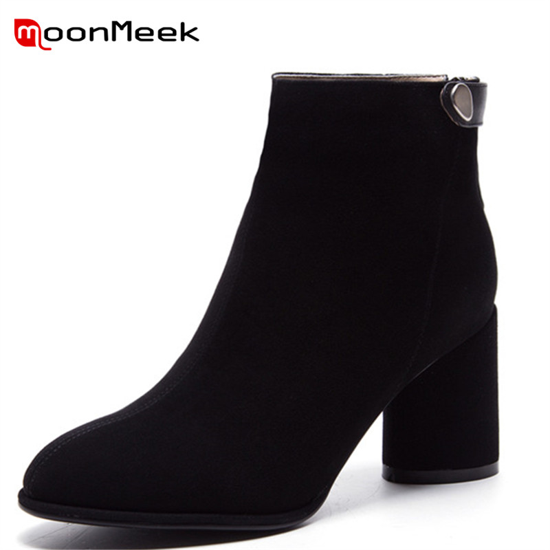 MoonMeek 2018 new arrive suede leather ladies boots popular pointe toe ankle boots classic autumn winter women high heel boots цена 2017