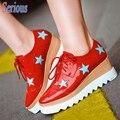 Звезда Женщины, босоножки, Шлепанцы Тяжелых Дном Платформы Клин Обувь Платформа Лакированной Кожи Досуг Женская Обувь Zapatos Mujer
