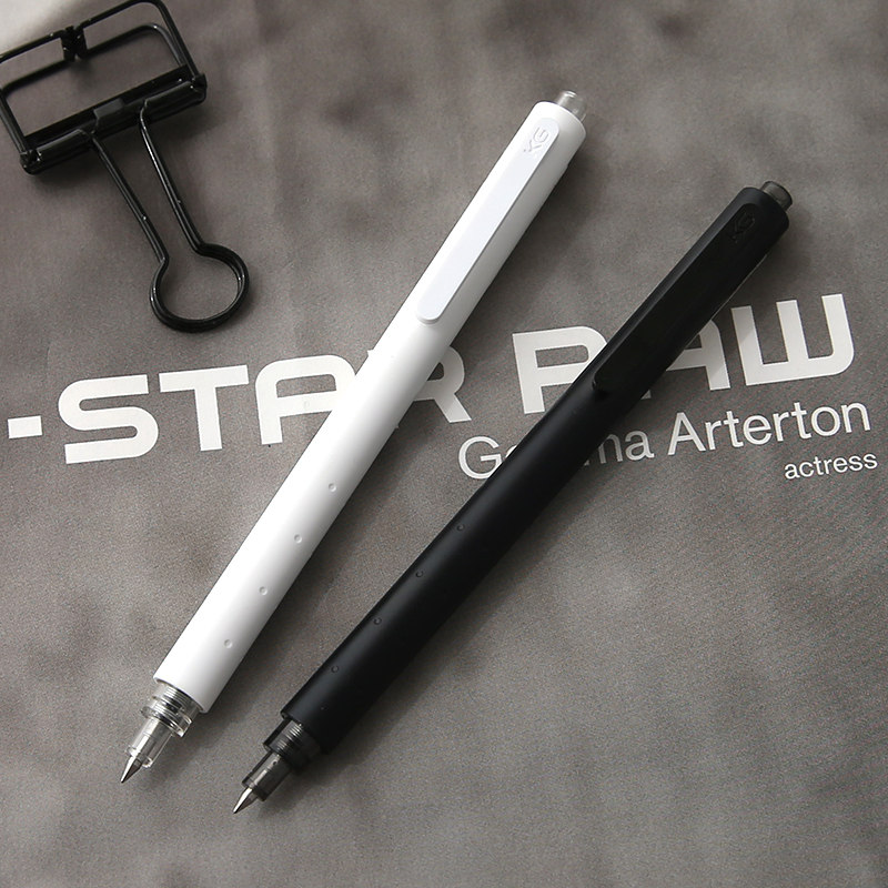 KACO GREEN ROCKET Gel Pen Simple Black White Pole 0.5mm Press Gel Pen 1PCS kaco tube metal signature pen k1001 gel pen black pen 0 5mm 1pcs