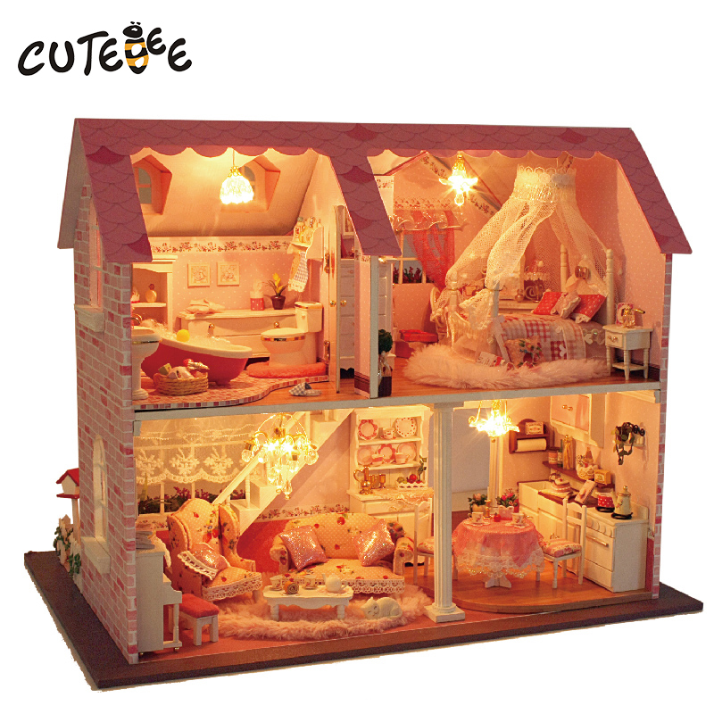 CUTEBEE Doll House Miniature DIY Dollhouse With Furnitures Wooden House  Toys For Children Birthday Gift pink sweet heart  A003 cutebee new house wooden pretend play