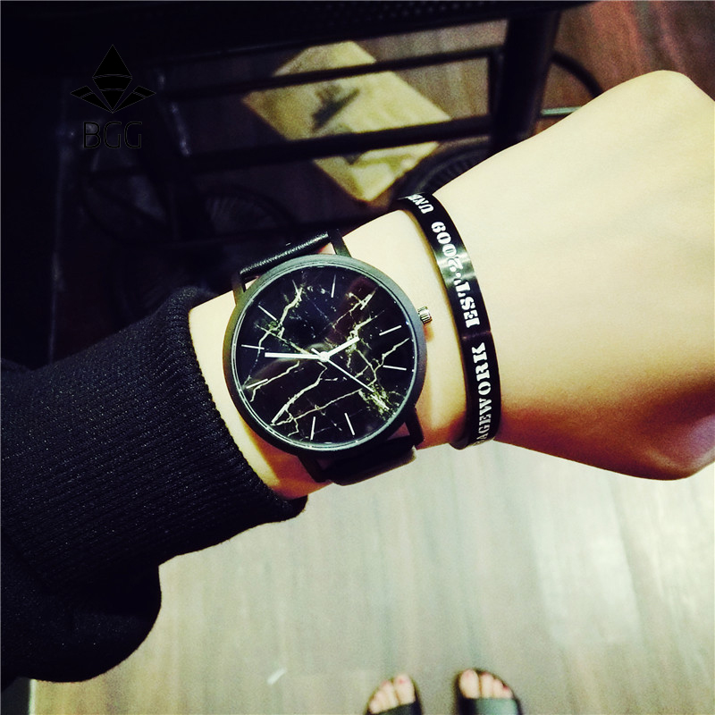 Estilo britânico Relógios de Mármore 2018 Hot Moda Marbling Tarja Criativo Relógio de Quartzo Das Mulheres Dos Homens Relógio de Pulso de Couro Genuíno