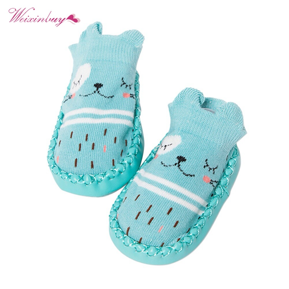 WEIXINBUY Baby shoes Boys Girls New Cartoon Animals Socks With PU Leather Rubber Sole Anti-slip Cute Cotton Slip-on Shoes 0-12M