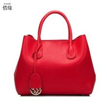 XIYUAN BRAND women 2pcs/set luxury Litchi pattern cow Genuine Leather platinum handbags lady crossbody handbag shoulder bags red