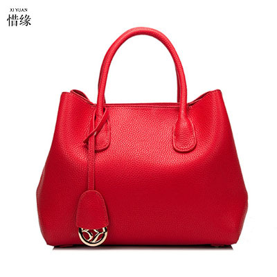 XIYUAN BRAND women 2pcs/set luxury Litchi pattern cow Genuine Leather platinum handbags lady crossbody handbag shoulder bags red