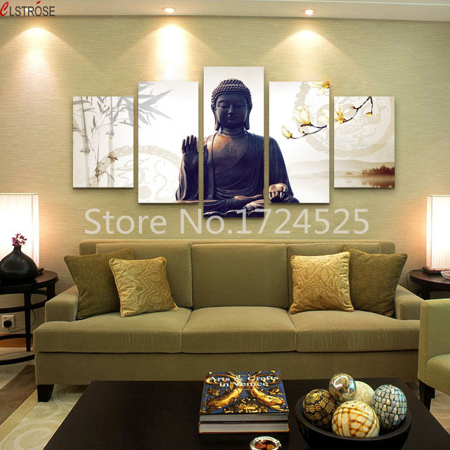 Clstrose Promotion Unframed 5 Panels Canvas Wall Art Luxury For Buddha Paintings On Contemporary Modern Picture