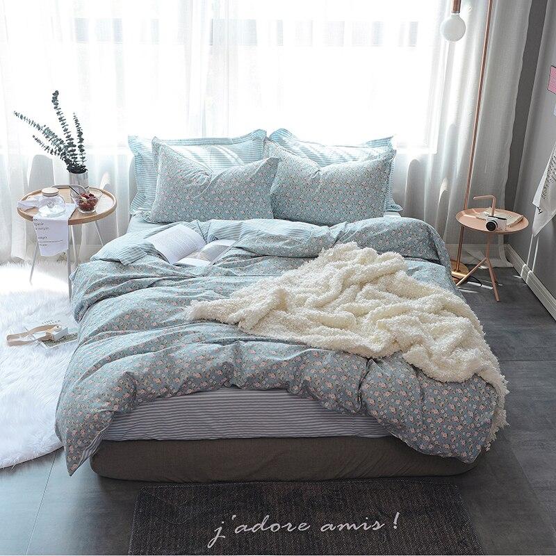 Flower Print 2017 New Queen Size Bedding Sets Soft Cotton Bedlinens Duvet Cover Flat Sheet Pillow Cases