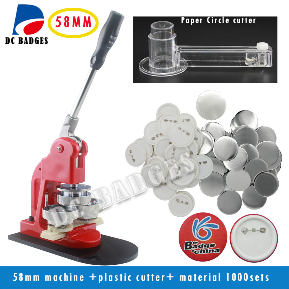 New Pro 2 1/4 58mm  Badge Press Machine + Adjustable Circle Cutter+1000 Sets Plastic Pinback Badge material free shipping new pro 1 1 4 32mm badge button maker machine adjustable circle cutter 500 sets pinback button supplies