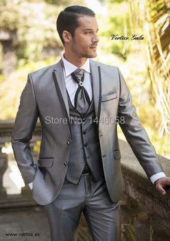 New 2018 Bespoke Suit Silver Groom Tuxedos Groomsmen Best Man Suits Silm Fit Mens Wedding /Business/Groom Suits Jacket+Pant+Vest