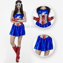 Sexy Captain America Costume Halloween Carnival Cosplay Costume dress Avengers Adult Superhero Costumes