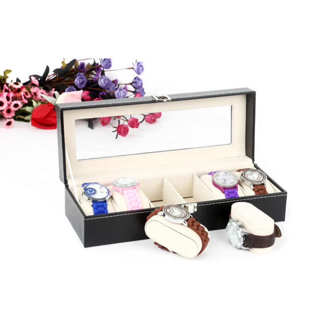 watch boxes Fancy Watch Case Box Jewelry Storage Box with 6 Cover Case Jewelry Watches Display Holder Organizer Gift Box