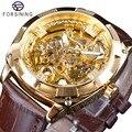 Forsining Koninklijke Gouden Bloem Transparant Bruin Lederen Riem Creatieve 2018 Mens Watch Top Merk Luxe Skelet Mechanische Horloge