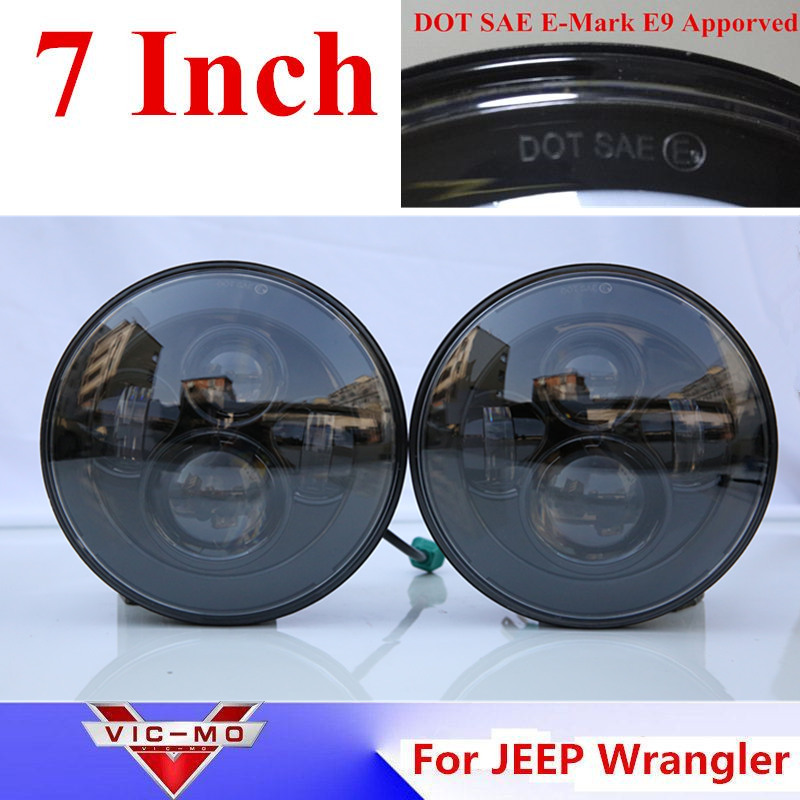 40W 7Inch Round Led Headlight For JEEP Wrangler LJ Sahara Rubicon Unlimited Hummer H1 & H2 fits Patrol Land Rover Defender Tdi 1 set black projector headlight 7 inch auto headlamp with halo ring for jeep wrangler unlimited rubicon sahara jk harley