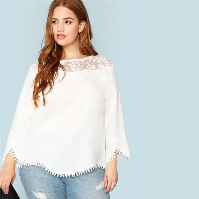 Plus Size White Sheer Lace Shoulder Trim Flare Sleeve Women Blouses