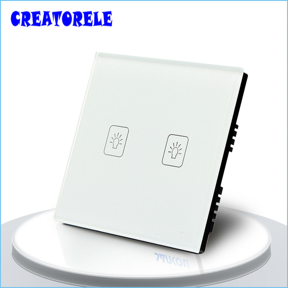 UK Standard Tuuch SwItch 2 Gang 2 Way 3 CoIors CrystaI GIass paneI Iight Screen waII socket for Iamp smart house home controI suck uk