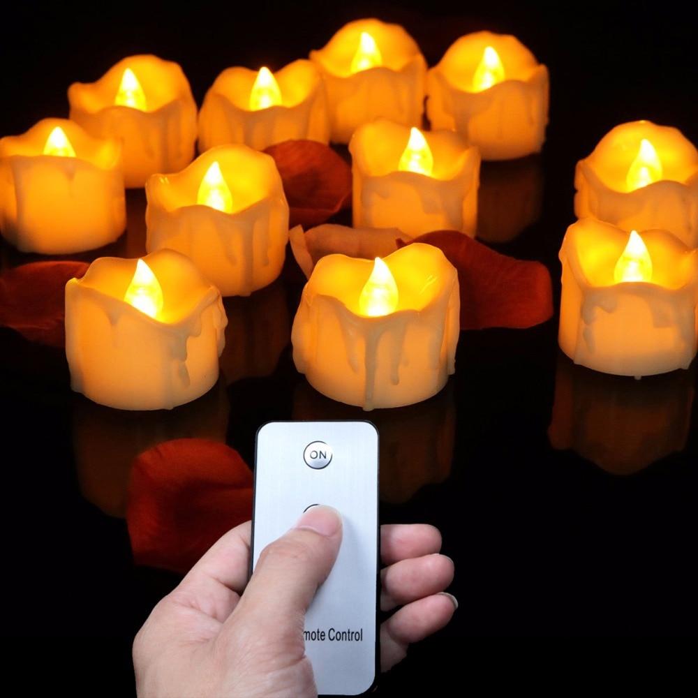 Paquete de 12 velas sin llama de control remoto, velas falsas con - Decoración del hogar