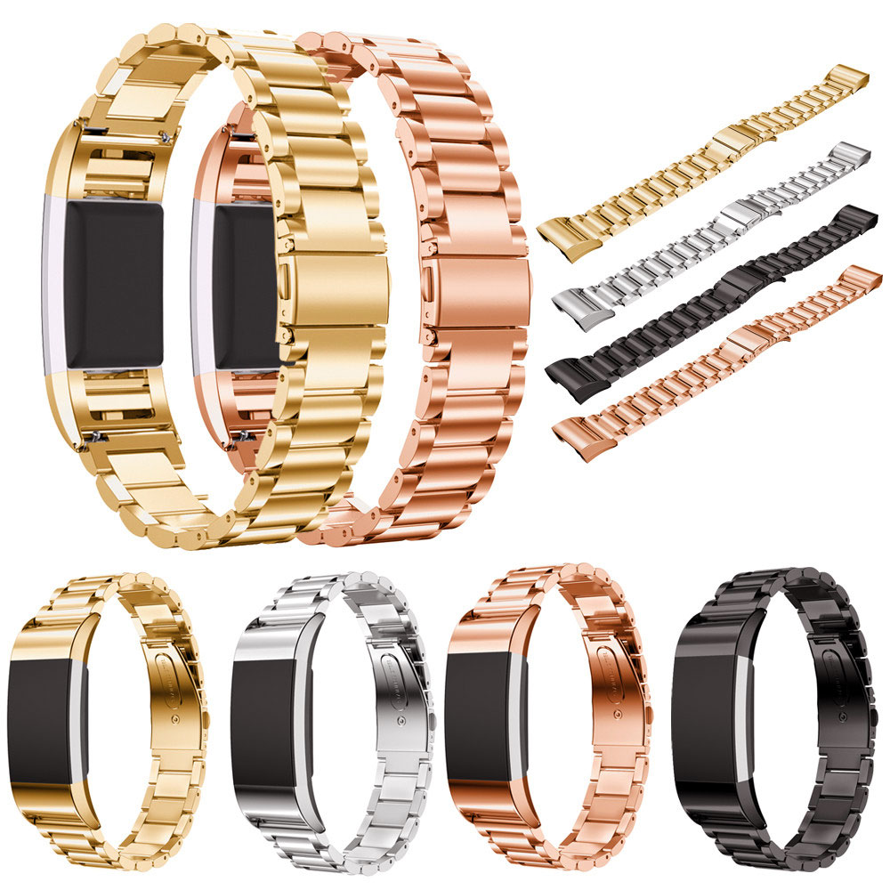 High Quality 4 Color Replacement Stainless Steel Bracelet Wristband Strap For Fitbit Charge 2 Wearable Belt Strap high quality stainless steel bracelet watchband strap for fitbit alta watch band wristband replacement band strap